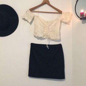 Crochet top & pencil skirt